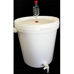 sil2018 Großer Gärbehälter 33 Liter für Bier oder Wein mit Ablasshahn und Gärröhrchen Gäreimer (Weiß 33 l)