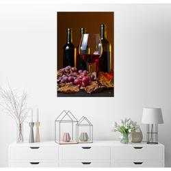 Posterlounge Wandbild, Rotwein mit Trauben und Weinblättern 100 cm x 150 cm
