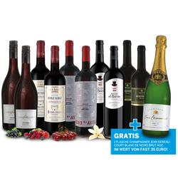 Luxus-Genusspaket mit 10 Flaschen Rotwein und 1 Flasche Champagner gratis