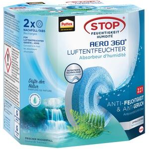 Pattex AERO 360° Frischer Wasserfall Tabs Nachfüllpack, reduzieren Feuchtigkeit und schlechte Gerüche, Nachfülltabs für den Luftentfeuchter AERO 360°, 2er-Pack (2x450g)