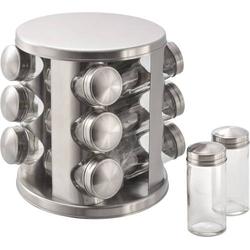 MATO Edelstahl Gewürz Ständer mit 12 Gewürzdosen aus Glas