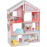 KidKraft 10064 Charlie Puppenhaus aus Holz mit Möbeln und Zubehör Spielset mit 3 Spielebenen, für Puppen bis 18 cm