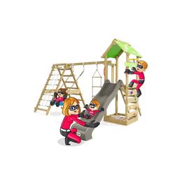 HEROOWS Spielturm Rapid Heroows Schaukelgestell aus Holz mit Kletteranbau und Kletterwand, Sandkasten, Schaukel & Rutsche