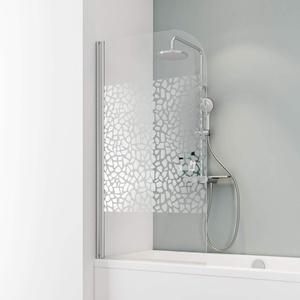 Schulte D1650 Duschwand Komfort, 80 x 140 cm, 5 mm Sicherheitsglas Terrazzo chrom, chromoptik, Duschabtrennung für Badewanne
