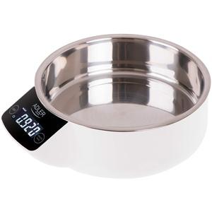 Adler AD 3166 Küchenwaage mit 900 ml Edelstahl-Behälter bis 5 kg Tragkraft Elektronische Haushaltswaage mit LCD-Display, digitale Waage, Genauigkeit bis 1 g