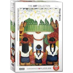 empireposter Puzzle Blumen Fest Mexikanische Volkskunst von Diego Rivera - 1000 Teile Puzzle im Format 68x48 cm, 1000 Puzzleteile