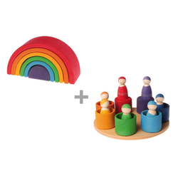 GRIMM´S Spiel und Holz Design Lernspielzeug, Regenbogen & 7 Freunde im Holzschälchen
