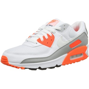 Nike Herren Air Max 90 Laufschuh, White/White-Hyper orange-lt Smoke Grey, 40.5 EU