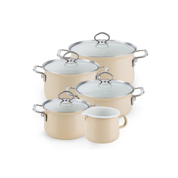 Riess Topf-Set Topfset Sparset 5-teilig CAPPUCCINO, Emaille, (5-tlg), Topfset