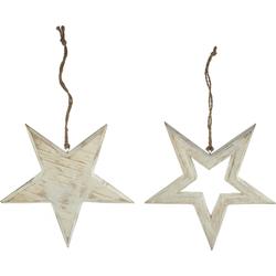 Stern aus Holz - weiß gekalkt - Fensterdeko Türdeko