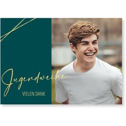 Jugendweihe Dankeskarten (10 Karten) selbst gestalten, Goldene Jugendweihe Danke in Grün - Grün