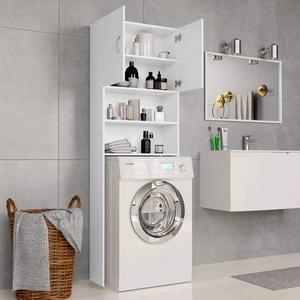 Festnight Waschmaschinenschrank Weiß 64×25,5×190 cm Spanplatte Hochschrank Waschmaschine Badezimmerschrank Bad Schrank
