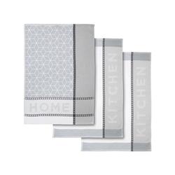 Dyckhoff Geschirrtuch Home & Kitchen, (3-tlg), sehr saugfähig grau