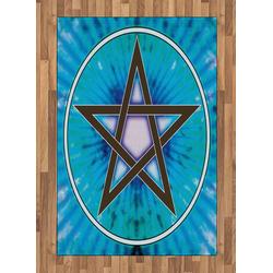 Teppich Flachgewebe Deko-Teppiche für das Wohn-,Schlaf-, und Essenszimmer, Abakuhaus, rechteckig, Pentagramm interlaced Pentagram 120 cm x 180 cm