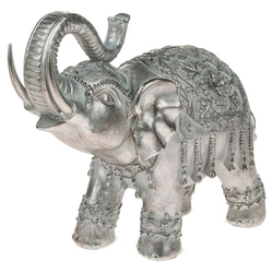 matches21 HOME & HOBBY Dekofigur Elefant Dekofigur indische Skulptur silber (1 Stück)