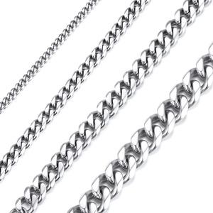Richsteel 3mm breit 71cm Kette Silber Halskette aus Edelstahl Panzerkette Halskette Partnerkette Freundschaftskette für Model Sänger