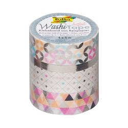 Folia Klebeband Washi-Tape 4er Set Silber, 4 x 5 m