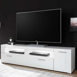 Fernsehlowboard in Weiß Hochglanz 180 cm breit