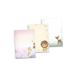 Kreative Feder Briefpapier, 3er Briefpapier-Set für Kinder, Fuchs, Löwe & Reh, 3 DIN A5 Briefpapier-Blöcke à 50 Blatt, Briefpapier mit Linien, Brief, Post, Schreiben