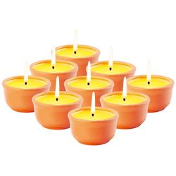 9er-Set Anti-Mücken-Kerzen in Terrakotta-Schalen