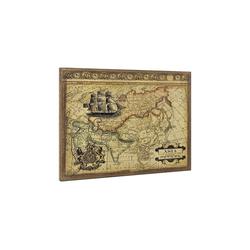 art.work Leinwandbild, Asien-Karte auf Leinwand 80x60 Gerahmt