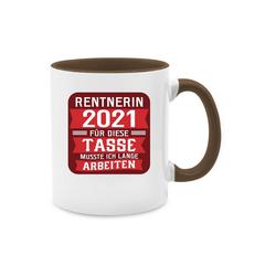 Shirtracer Tasse Rentnerin 2021 - rot - Rentner Geschenk Tasse - Tasse zweifarbig - Tassen, tasse rentner