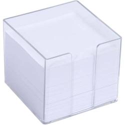 Zettelbox 10,5x10,5cm glasklar 700 Blatt weißes Papier