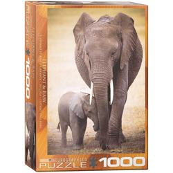 empireposter Puzzle Elefantenmutter mit Baby - 1000 Teile Puzzle Format 68x48 cm., 1000 Puzzleteile