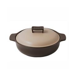 WALD Kochtopf Keramik-Kochtopf klein flach, braun