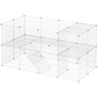 Songmics Haustierkäfig 2-stöckig, DIY Kleintiergehege, Hasenstall, Hamster, Kaninchen, Meerschweinchen, Metallgitter, für den Innenbereich, 143 x 73 x 71 cm, weiß LPI02W