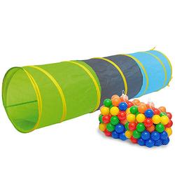 Kinder Spieltunnel mit 200 Bällebad Bällen - 180cm Krabbeltunnel mehrfarbig