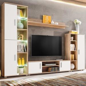 vidaXL TV-Wohnwand mit LED-Leuchten Sonoma Eiche und Weiß