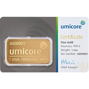 31,1 Gramm Goldbarren Umicore