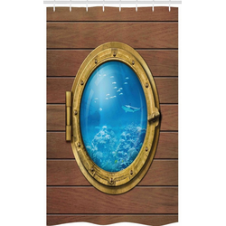 Abakuhaus Duschvorhang Badezimmer Deko Set aus Stoff mit Haken Breite 120 cm, Höhe 180 cm, Hai Submarine Kammerfenster