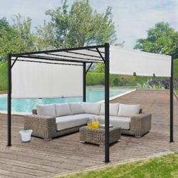 ArtLife Pavillon Cavo 3 × 3 m creme – Pergola mit LED Beleuchtung & Flachdach - Sonnenschutz