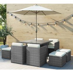GRADE A1 - Grey Rattan 10 Piece Cube Garden Dining Set - Parasol Included