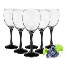 Sendez Weißweinglas 6 Weingläser 300ml mit schwarzen Füßen Weinglas Weißweingläser Rotweingläser