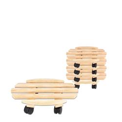 BigDean Blumentopfuntersetzer Rolluntersetzer Pflanzroller 35 cm − Max. 100 kg Traglast − Aus Buchenholz − Stabil & robust − Für Pflanztöpfe, Möbel & schwere Gegenstände −, 5-tlg.