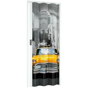 Falttür NY-Skyline, BxH: 88,5x202 cm, Weiß mit Motivdruck