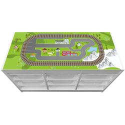 """STIKKIPIX Möbelfolie TF04, (MÖBEL NICHT INKLUSIVE) Aufkleber """"Eisenbahn"""", passend für das Regal TROFAST von IKEA"""