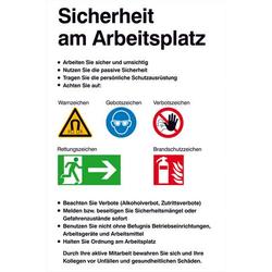 Aushang Sicherheitskennzeichnung Sicherheit am Arbeitsplatz Kunststoff (B x H) 480mm x 720mm 1St.