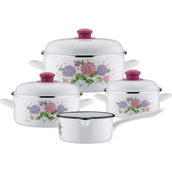 GSW Topf-Set Hortensie, Stahl-Emaille, (Set, 7-tlg), Induktion