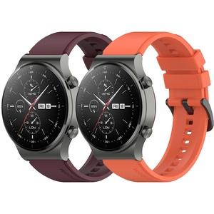 Braleto 22mm Sport Silikonarmband Verstellbares Ersatzarmband Kompatibel mit Huawei Watch GT 2 Pro (Rot+Orange)