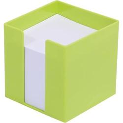 Zettelbox 9,5x9,5x9,5cm weißes Papier lime-green