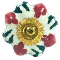 Guru-Shop Möbelknopf Möbelknopf Rose aus Keramik, Möbelknauf..