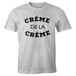 MoonWorks Print-Shirt Herren T-Shirt Creme de la Creme Fun-Shirt Moonworks® mit Print grau L