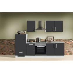 Menke Küchen Küchenzeile White Premium 270 cm, Schiefer grau