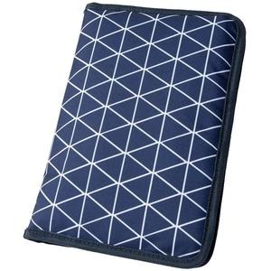 Wickeltasche für unterwegs mit Dreiecken blau (Farbe & Motiv wählbar) I praktische Windeltasche mit Fächern für Windeln, Feuchttücher etc.
