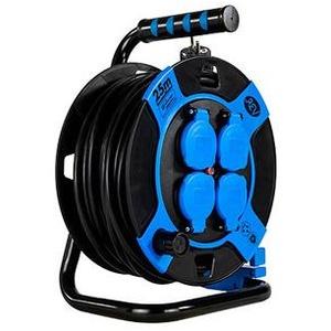 REV Kabeltrommel, Kunststoff, kompakt, 4-Fach, IP 44,25 Meter,H05VV-F 3G1,5, Blau (0010105812)
