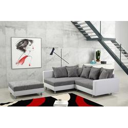 Küchen-Preisbombe Sofa Modernes Sofa Couch Ecksofa Eckcouch in weiss Eckcouch mit Hocker - Minsk L, Ecksofa + Hocker